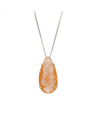 Colar gota com pedra fusion dourado folheado em ródio branco