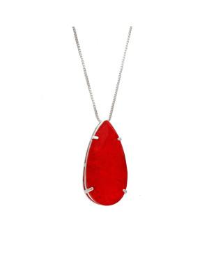 Colar gota com pedra fusion vermelho folheado em ródio branco