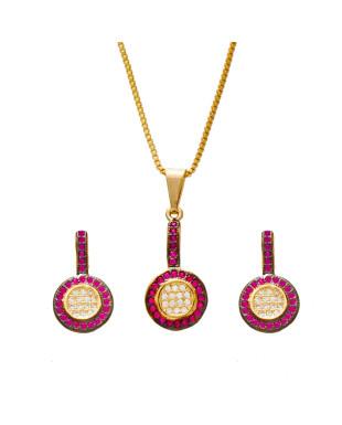 Conjunto de colar e brincos com zircônias na cor rosa e branca folheado em ouro 18k