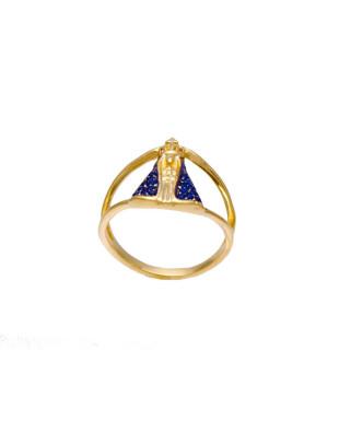 Anel Nossa Senhora Aparecida com Zircônias Azuis Folheado em Ouro 18k