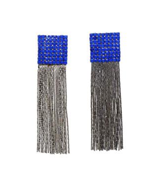 Brinco para festa com base cravejada com cristais azuis e franjas semi joia