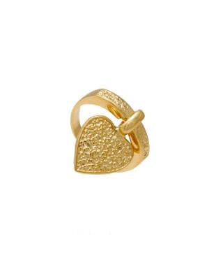 Anel de coração pendurado Folheado em Ouro 18K