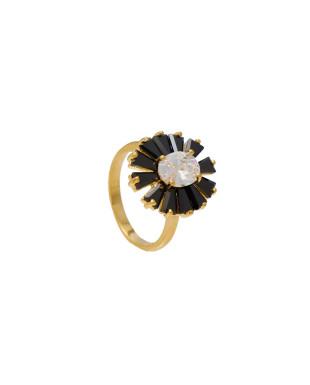 Anel luxo com cristais e zircônias Folheado em Ouro 18K