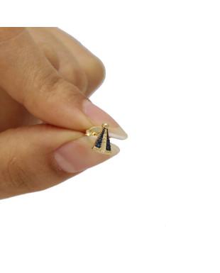Brinco Pequeno de Nossa Senhora com Manto de Cristais Azuis Folheado em Ouro 18K
