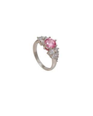 Anel Delicado Cristal Rosa e Zircônias Folheado em Ródio Branco