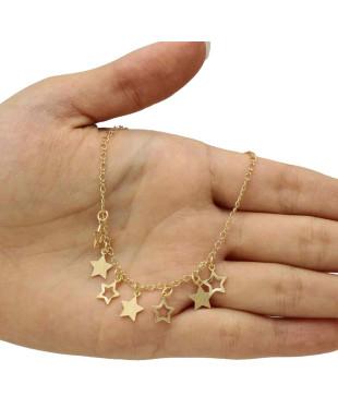 Tornozeleira com Pingentes de Estrelas Cheias e Vazadas Folheada em Ouro 18K