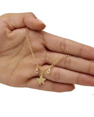 Tornozeleira com Pingente de Estrela do Mar e Zircônias Folheada Em Ouro 18K