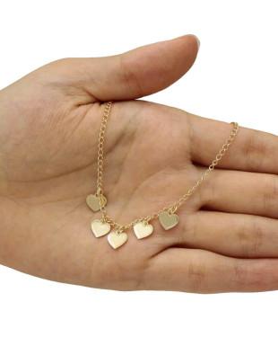 Tornozeleira com Cinco Pequenos Corações Folheada em Ouro 18K