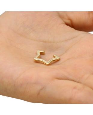 Piercing Cartilagem Formato de Estrela Folheado em Ouro 18K