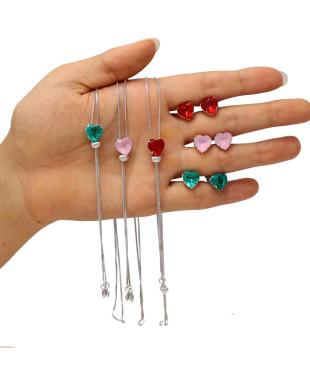 Conjunto de colar e brincos com coração modelo gravatinha Folheado em Ródio Branco