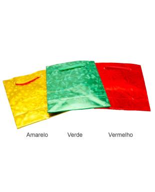 Sacolinha de papel holográfico pacote com 3 unidades