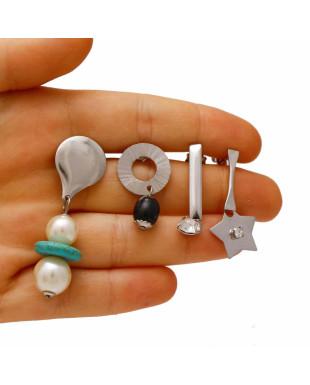 Kit de Quatro brincos com Strass e Resina em Aço Cirúrgico