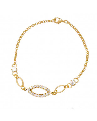 Pulseira com peça ovalada de zircônias Folheada em Ouro 18k