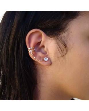 Brinco Ear Cuff com Corrente de Zircônias e Piercing Aro Duplo Folheado em Ouro 18K