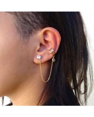 Brinco Ear Cuff com Piercing Quadruplo e Ponto de Luz Folheado em Ouro 18K