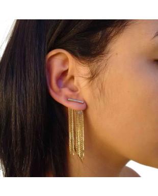 Brinco Ear Jacket com Franjas Tamanho Pequeno Folheado em Ouro 18K
