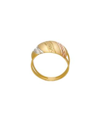 Anel modelo escravo jateado com detalhes folheado em ouro 18k