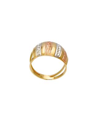 Anel modelo escravo com faixas trabalhadas folheado em ouro 18k