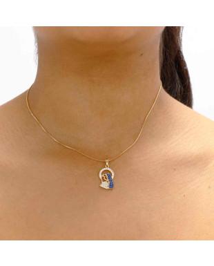 Colar da imagem da Nossa senhora aparecida com zircônias branca e azul Folheado em Ouro 18K