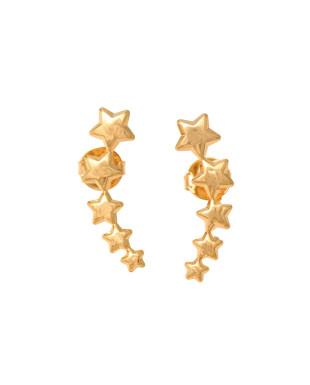 Brinco ear cuff de estrelas folheado em ouro 18k