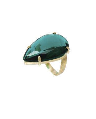 Anel com Gota de Cristal Verde Folheado em Ouro 18K