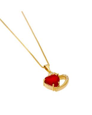 Colar de coração duplo com zircônias Folheada em ouro 18K