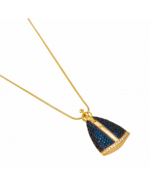 Colar Nossa Senhora com manto de zircônias azuis Folheado em Ouro 18K