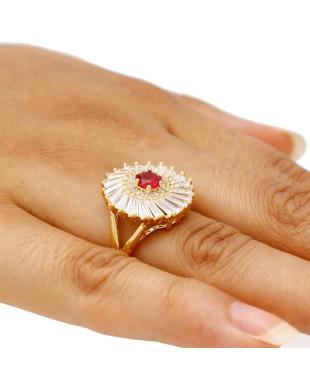 Anel de Festa com Zircônias e Cristal Rosa Folheado em Ouro 18k