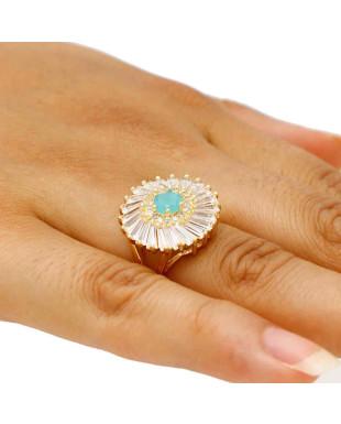 Anel de Festa com Zircônias e Cristal Azul Folheado em Ouro 18k