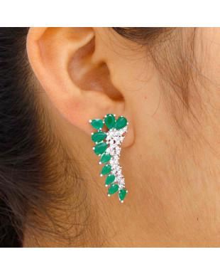 Brinco Ear Cuff com Cristais Verde e Zircônias Folheado no Ródio Branco