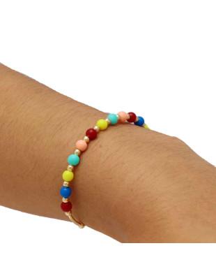 Pulseira modelo bracelete com bolinhas coloridas Folheada em Ouro 18K